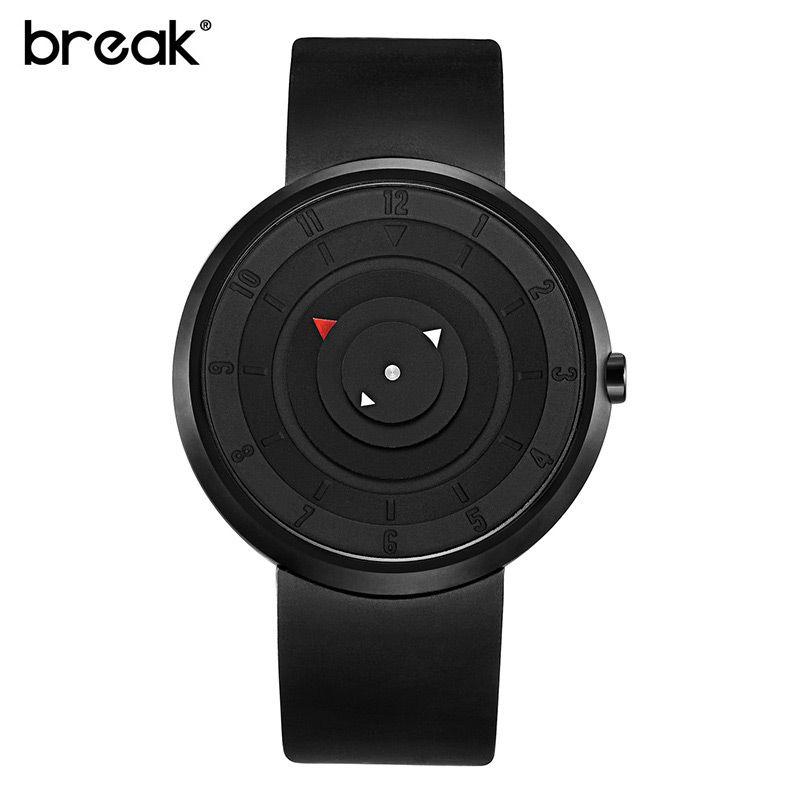 BREAK Quartz Men Watch Creative Design Threedimensional Turntable 3D Dial Waterproof Shock Resistant Simple Sports Wristwatch