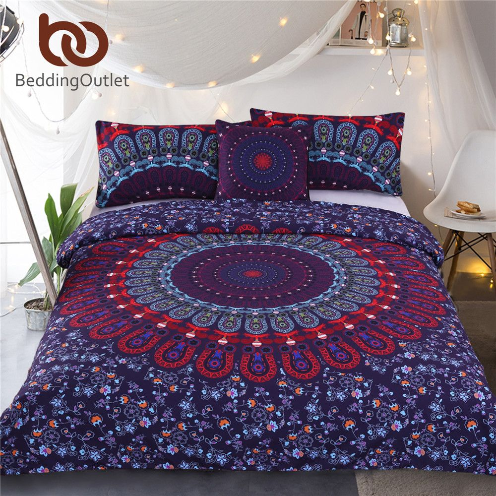 BeddingOutlet Mandala Bedding Set Queen Size Purple Concealed Bohemian Bedspread Duvet Cover Set 4Pcs Boho Home Textiles Fashion