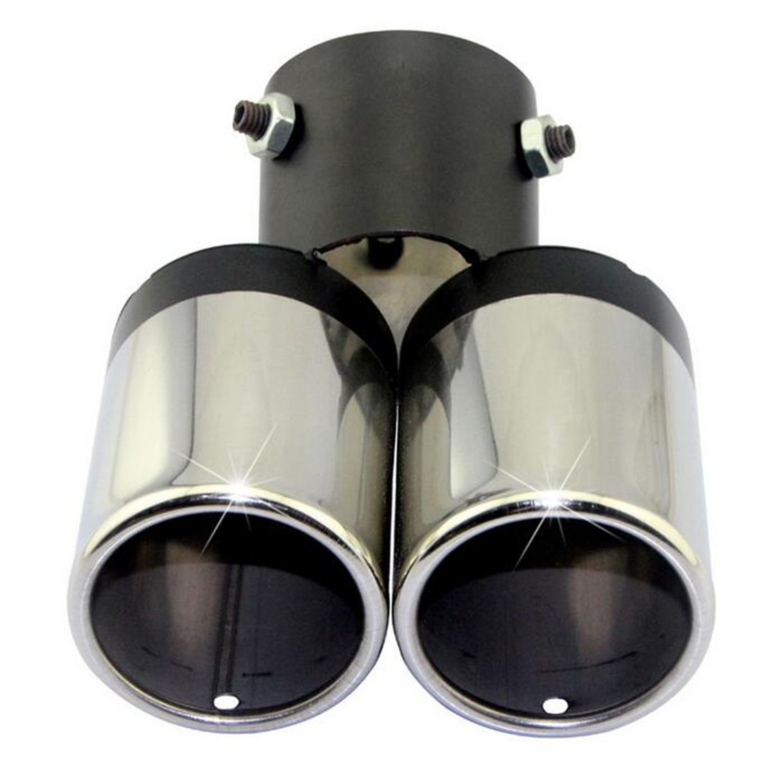 Dewtreetali black and silverStylish Car Vehicle Exhaust Muffler Steel Double Tail Pipe Car Accessory