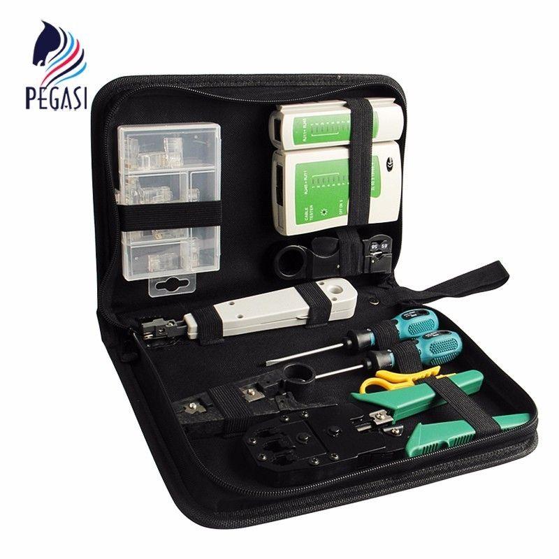 PEGASI 10 pièces Kit d'outils réseau LAN ensemble testeur de câble pince à sertir boîte à outils en Fiber optique outil d'installation de réseau sac à outils Web