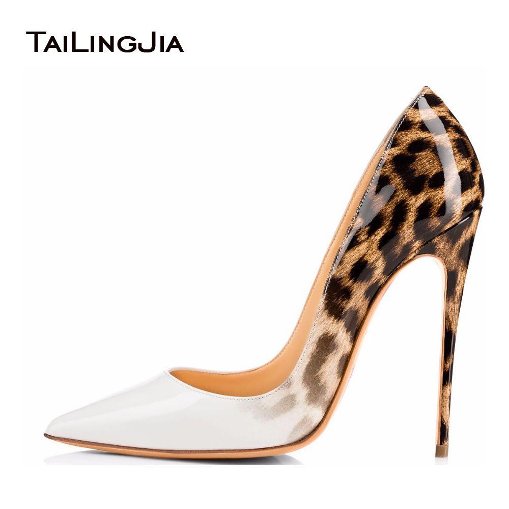 Tailingjia Femmes Pompes Printemps 2017 Blanc Léopard Chaussures Extrêmement Haute Talons Dames Stilettos Chaussures Robe de Soirée Chaussures De Mariage