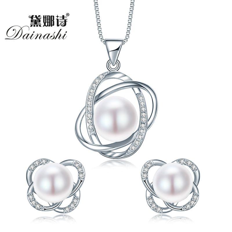 Top Qualität Trendy Kreuz 925 Sterling Silber Schmuck Sets Anhänger Halskette & Ohrring Große Perle Anhänger Ohrringe Für Frauen Geschenk