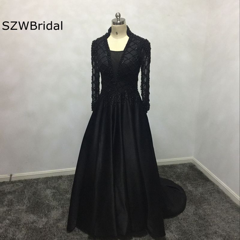 New Arrival V Neck Long sleeve Evening dress 2018 Full hand Beading Kaftan Evening gowns Vestido de festa abiye Party dresses