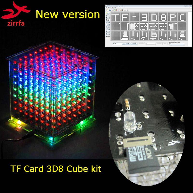 Nouvelle mini multicolore 3D 8 8x8x8 lumière cubeeds kit audio spectre pour TF carte led électronique diy kit