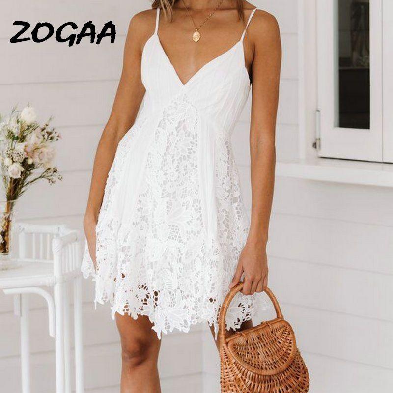 ZOGAA blanc été plage robe femmes dentelle Spaghetti sangle broderie coton robe décontracté bohème fête Vestidos branco