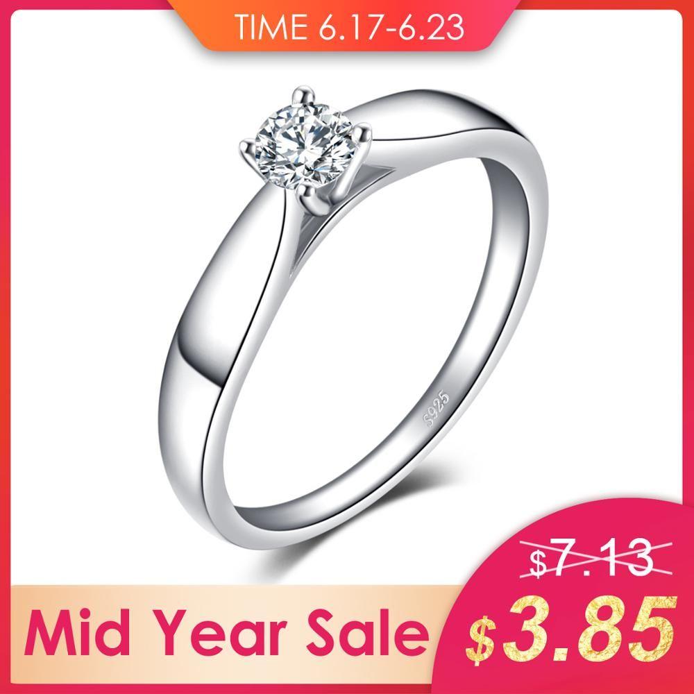 Bijourypalace 925 argent Sterling 0.2ct cubique zircone Solitaire bague de fiançailles pour les femmes nouveau Simple anneau de doigt bijoux à la mode