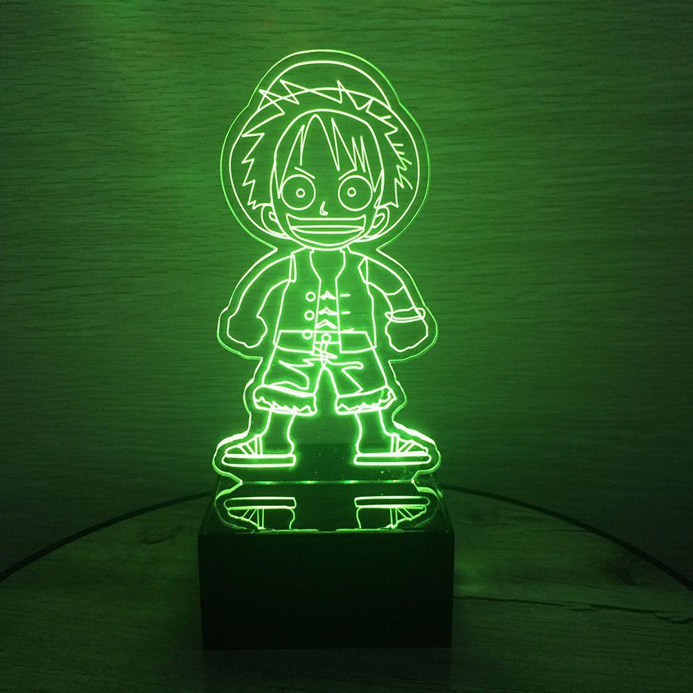 Une pièce Action Figure Luffy 3D LED Table nuit lumière coloré acrylique USB LED éclairage lampe à LED créatif Action Figure jouet