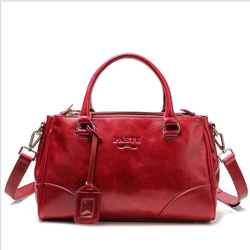 100% Oil Waxing Genuine Leather Women Handbag 2018 Female Cowhide Tote Shoulder Bags Casual Messenger Bag For Female PT07