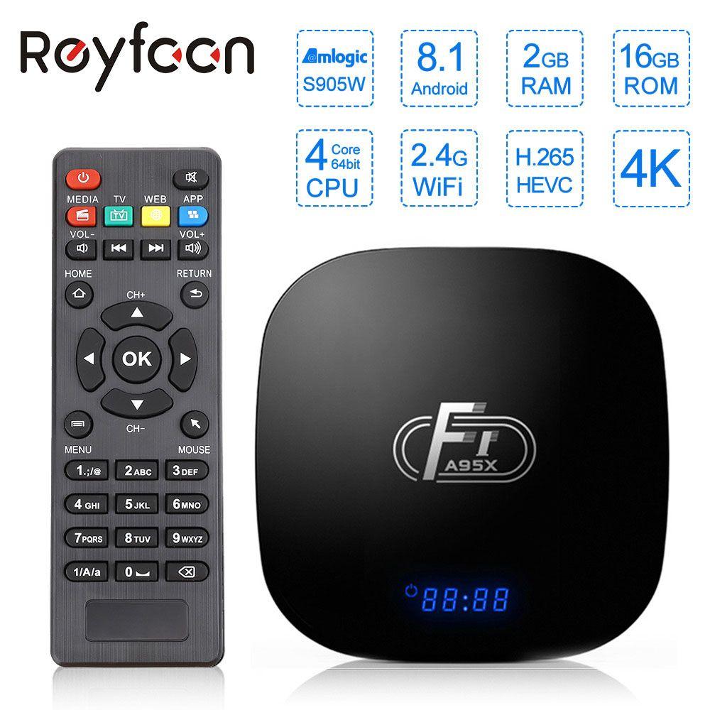 Android 8.1 Smart TV Box A95X F1 Amlogic S905W Quad Core 2GB 16GB prise en charge H.265 4K 2.4GHz WiFi lecteur multimédia décodeur Youtube