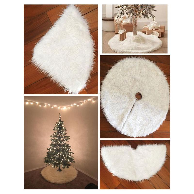 30 inch Weihnachten Baum Röcke Snowy Weiß Faux Pelz WEIHNACHTEN Baum Dekoration Luxus Weichen Schnee Baum Röcke für Frohe Weihnachten