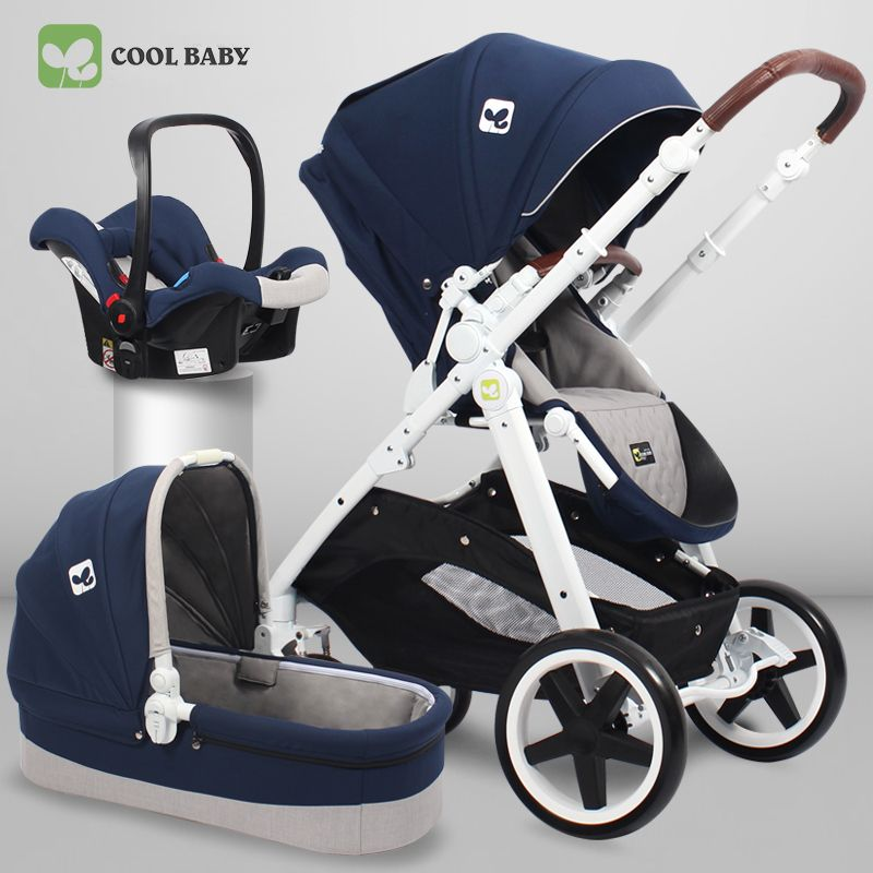 Coolbaby baby stroller high landscape European double-sided foldable portable stroller can sit lying linen flap wheel EVA basket