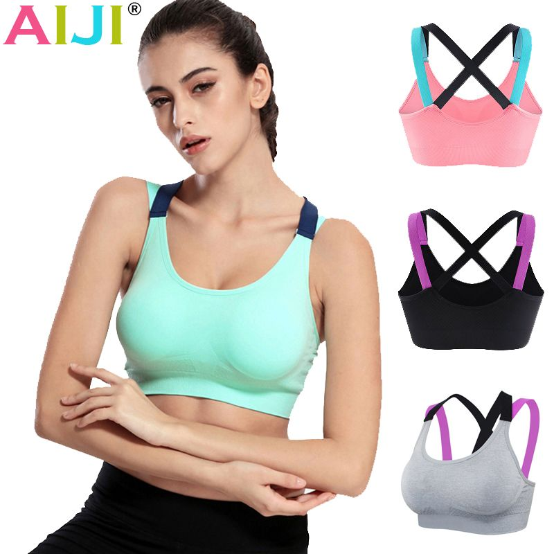 Sexy women fitness bra padded compression sport bra top Sportswear Quick dry elastic crop top sexy running top yoga bra ladies