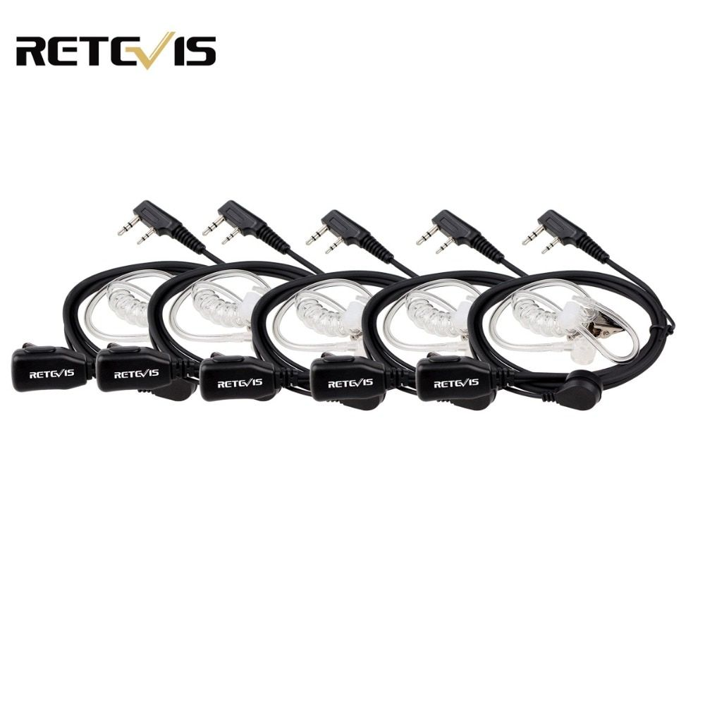 5pcs Retevis PTT Mic Air Acoustic Tube Earpiece Walkie Talkie Headset For Kenwood Baofeng UV-5R Retevis H777 RT22 RT80 C9003