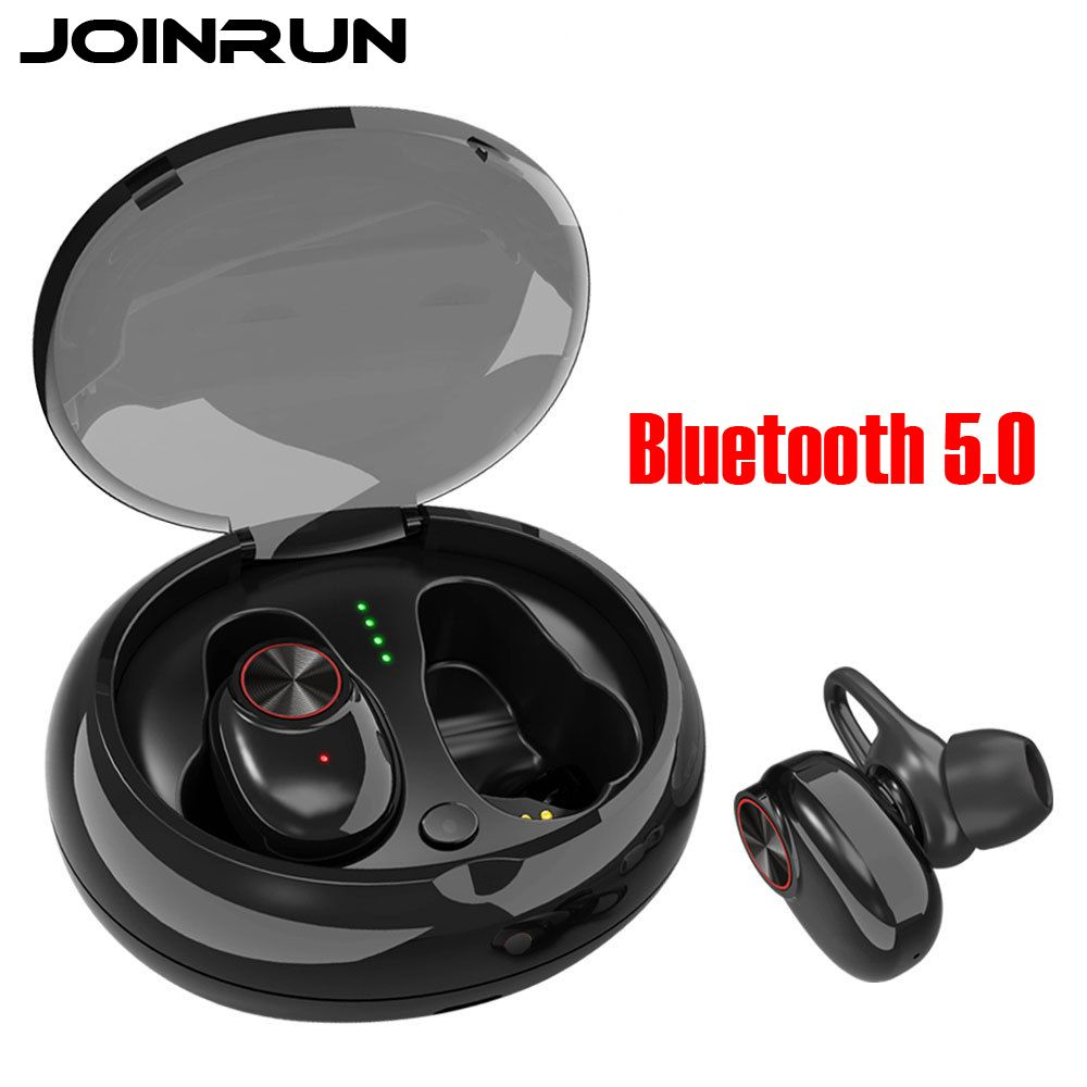 JOINRUN Earphone Bluetooth 5.0 Headset Wireless Earbud with Handsfree Stereo Music QI-Enabled With Charging Box IPX5 Waterproof