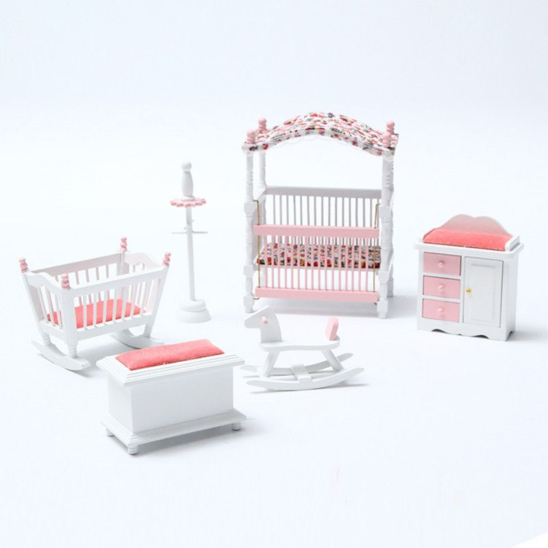 New 6pcs/set Wooden DIY Mini Dollhouse Bedroom Furniture Toys Set Miniature Kids Play Toy Gift For Children Dollhouse Decor Toy