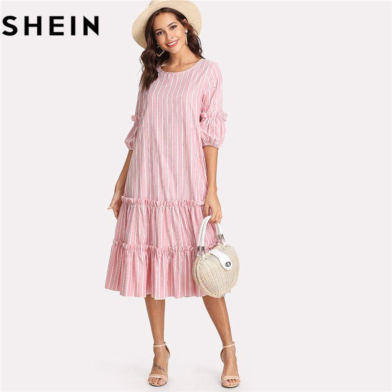 SHEIN 2018 Summer O Neck Lantern Sleeve <font><b>Vertical</b></font> Striped Pink Girl Mid-calf Dresses Flounce Casual Frill Embellished Swing Dress