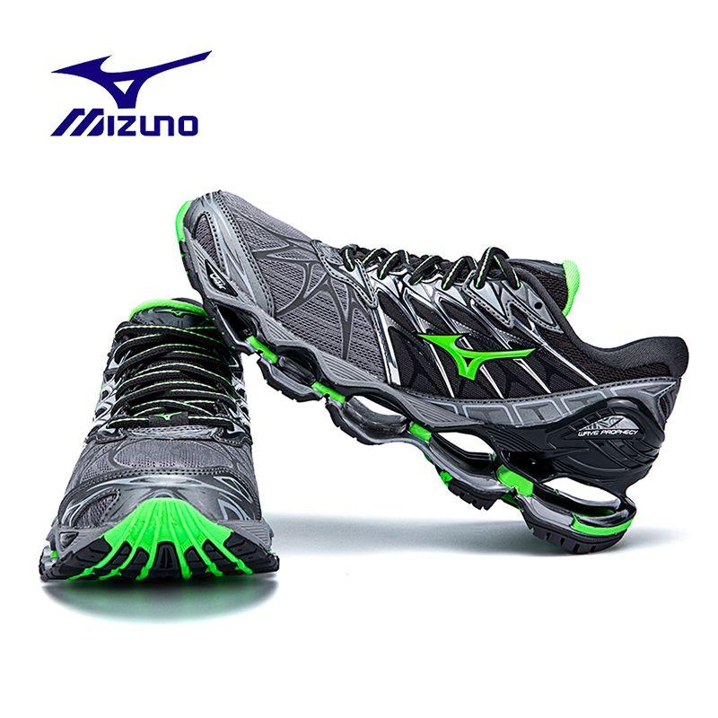 Оригинальный Mizuno Wave Prophecy 7 Professional Мужская обувь Air амортизацию кроссовки открытый Штангетки Gray GreenSize 40-45
