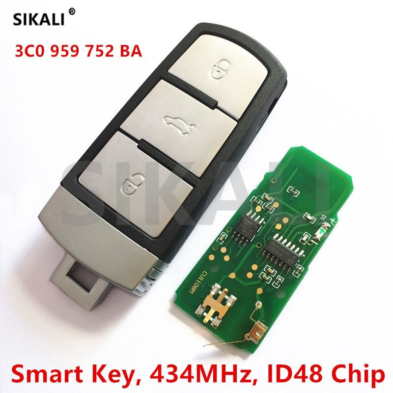SIKALI 434MHz Car Remote Smart Key for VW/VolksWagen 3C0959752BA for PASSAT/CC/MAGOTAN Vehicle Control Alarm with ID48 Chip