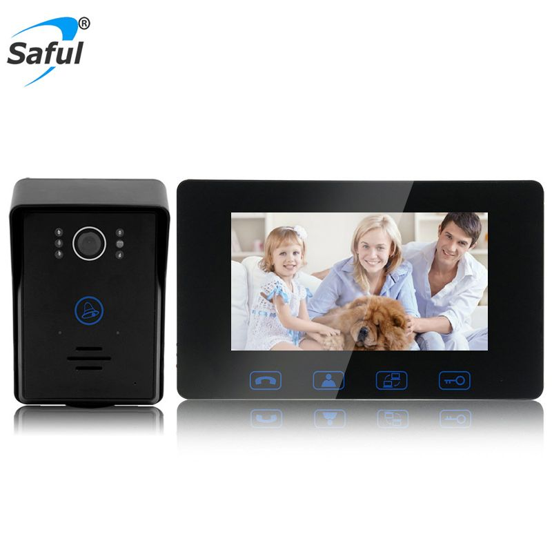 Saful Wired Video Door Phone 7'' TFT LCD Waterproof Touch Key Night Vision Home Electric Unlock Function Door Video Intercom