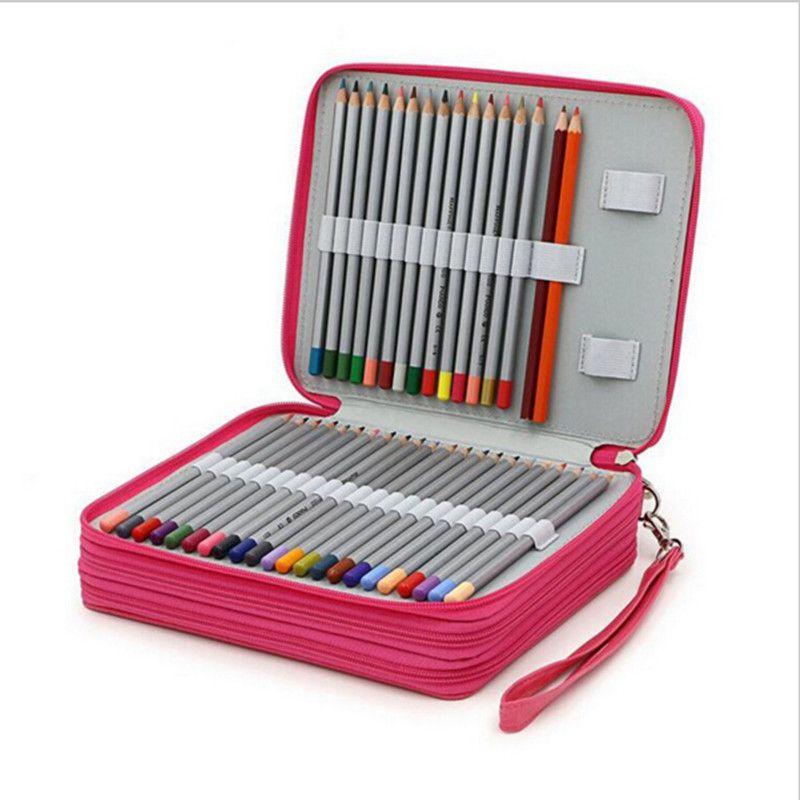Crayon en cuir cas kawaii estuches school girl pencilcase matériel escolar stylo sac boîte 124 trous estuches lapices escolares