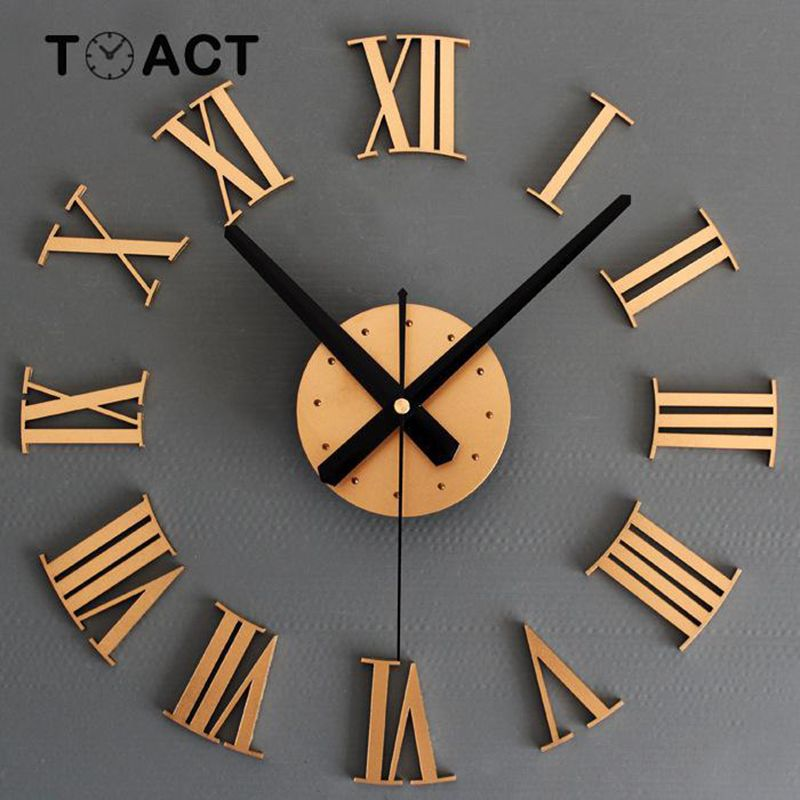 Wall Clock Large Size Wall Clocks Modern Design Sticker 3D DIY Big Watch Luxury For Living Room Home Decor Roman Numerals New