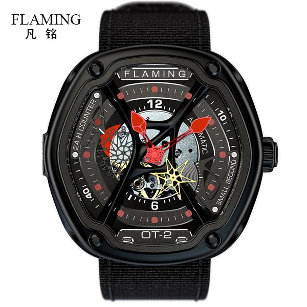FLAMING Dietrich Series Fashion 1969 Organic Time OT-2 Red Watches Men Luxury Wristwatches with Miyota 82S7 Auto Movement Gifts