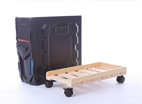 Moving solid wood Desktop PC Case Computer Adjustable CPU Stand Tower Holder