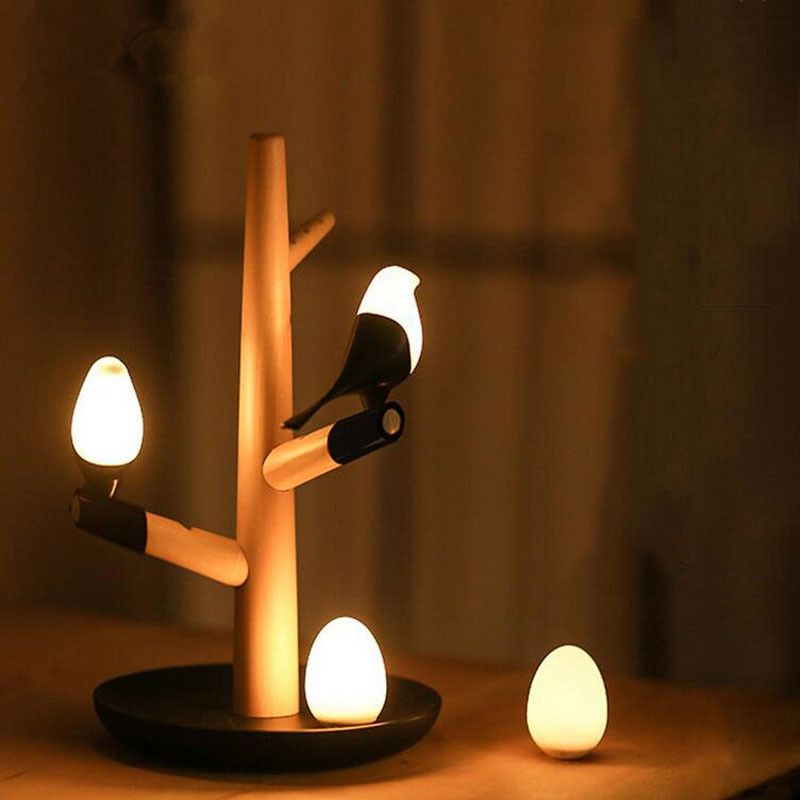GZMJ Chinese Style Lucky Bird LED Night Table Lamp Wood Base  Intelligent Motion Sensor Luminaria Living Room Bedroom Desk Light