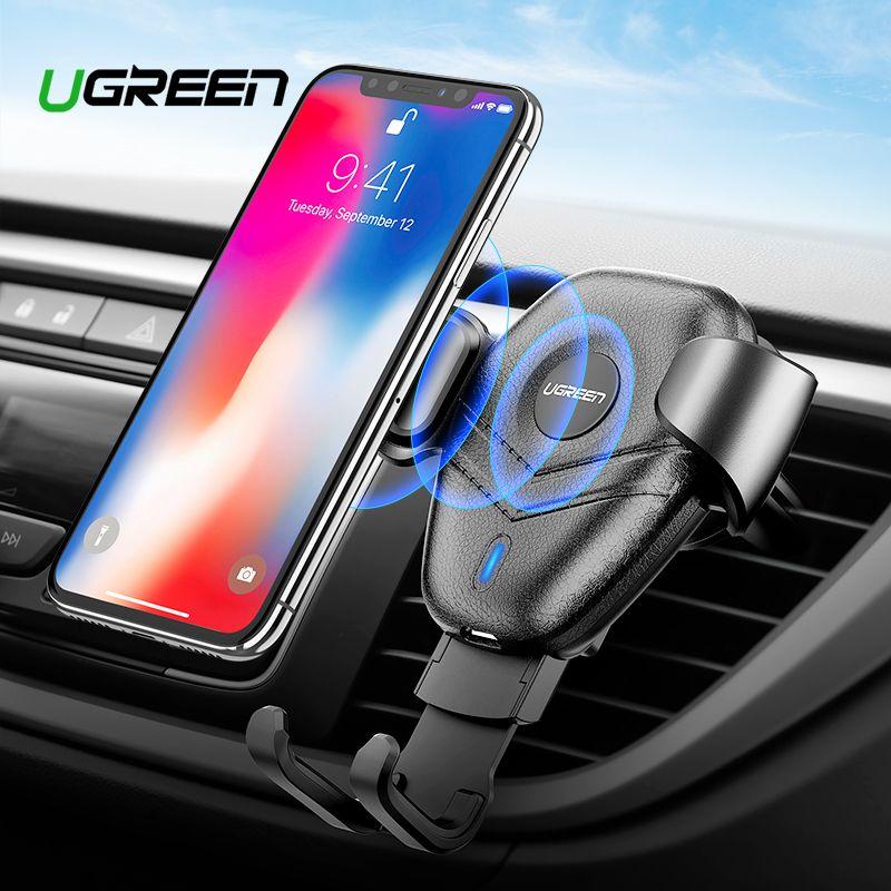 Ugreen Qi Voiture Sans Fil chargeur pour iphone Xs X 8 10 W Rapide Sans Fil chargement pour samsung Galaxy S9 S10 support pour téléphone De Voiture Chargeur