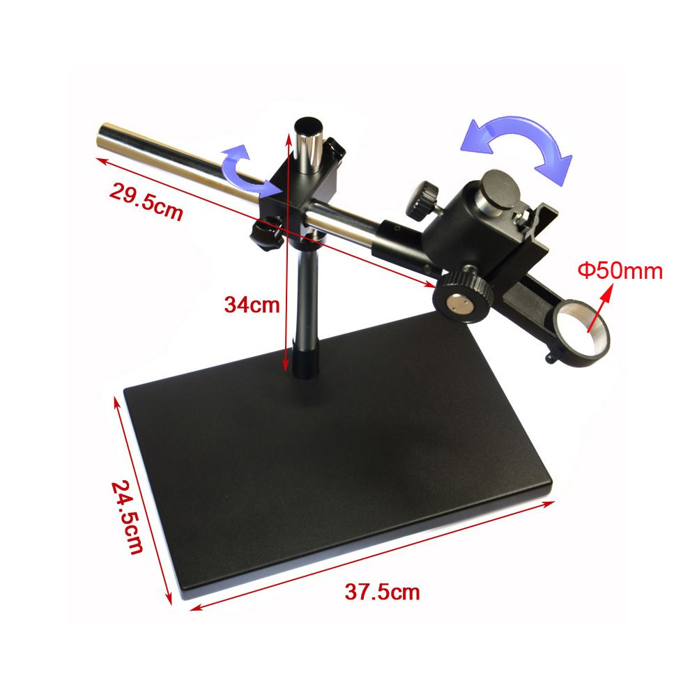 Dual-arm Heavy Duty Boom Stereo Metal Table Stand 50mm Ring Holder Universal Large Table Stand for Industrial Microsocpe