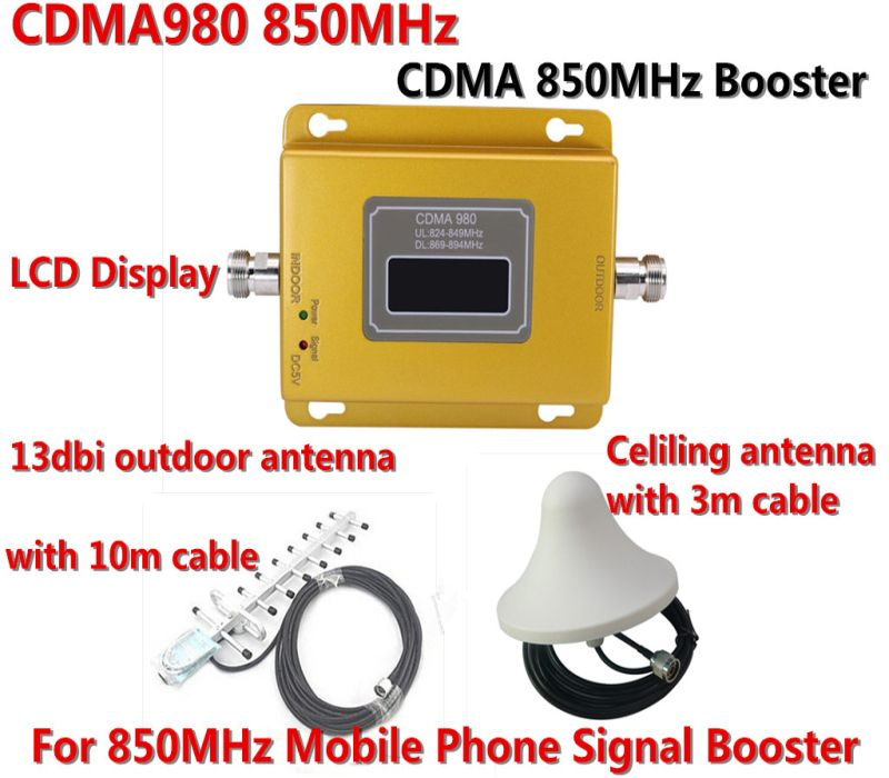 850 zellulären Signalverstärker CDMA 850 mhz Handy-signal-verstärker 70dB GSM 850 Handy Booster Vollen Kit mit Antenne + kabel