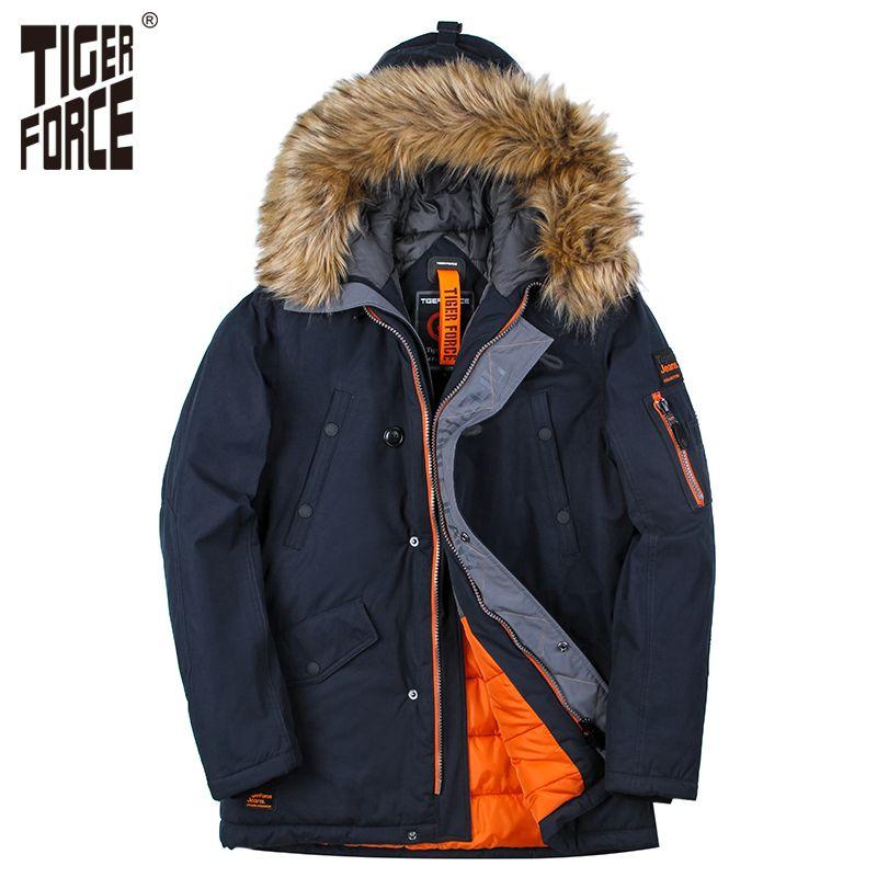 TIGER KRAFT Winter Jacke Männer Padded Parka Herren Baumwolle Mantel Warme herren Winter Mantel Künstliche Pelz Große Taschen Dicke parkas