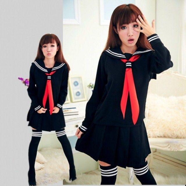 JK Japanese School sailor uniform fashion school class navy sailor school uniforms for Cosplay girls suit 3 Pcs / Set