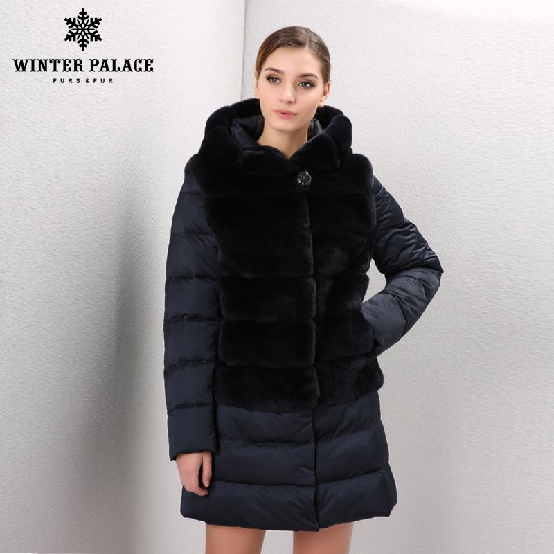 Thick Warm Fur rabbit fur coat winter women real fur rex rabbit jacket Fashion style rex rabbit coat Down jacket style