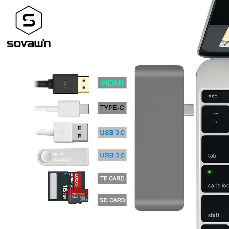 USB-C Aluminum 4K USB C Hub HDMI Type C Hub 3.0 Splitter Adapter TF Micro SD Card Reader for imac for Macbook pro 2015 2016