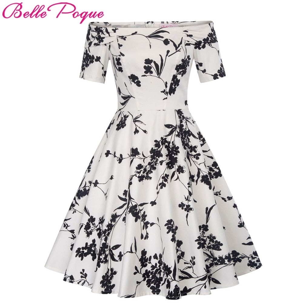 Women Summer Dress 2018 Off Shoulder Floral robe Retro Party Dresses Cotton Skater Casual 50s Vintage Rockabilly Dress Vestidos
