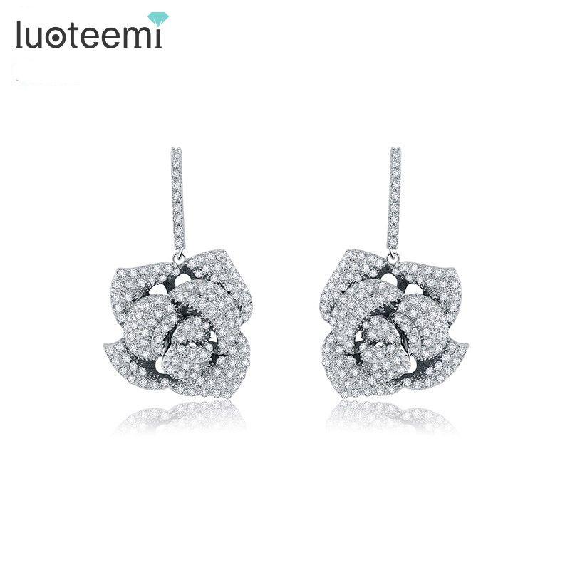 LUOTEEMI New Luxury Statement Micro Paved Cubic Zircon Rose Flower Drop Earrings Wedding Bijoux Bridal Brincos Jewelry for Women