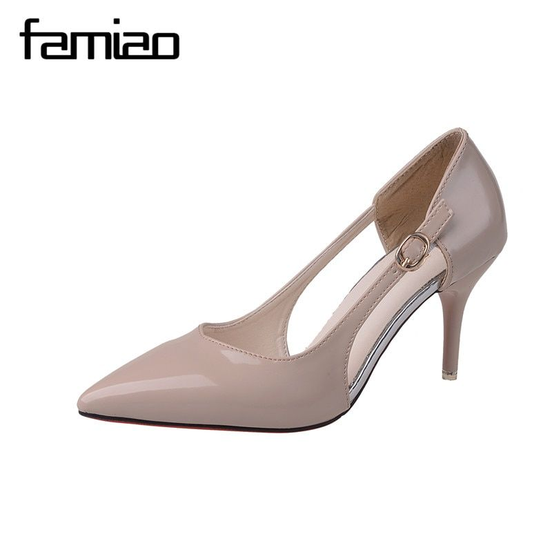 FAMIAO Sexy Point Toe Patent Leahter High Heels Pumps Shoes 2017 Newest Woman's Red Sandals Heels Shoes Wedding Shoes