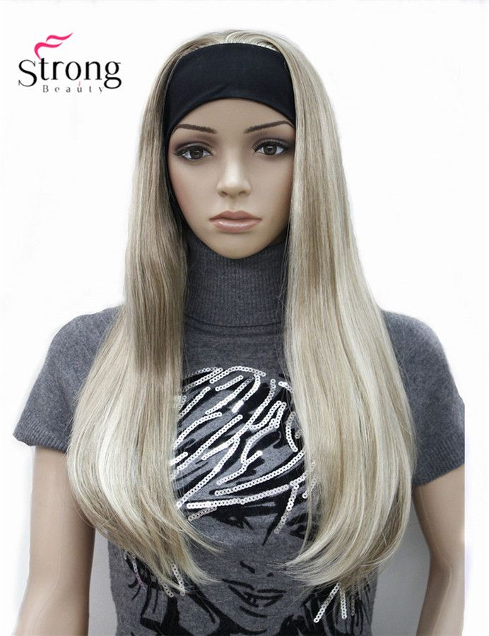 StrongBeauty Long 3/4 women's wigs hairpiece Straight with Adjust Black Headband Blonde Highlighted wig Synthetic Hair