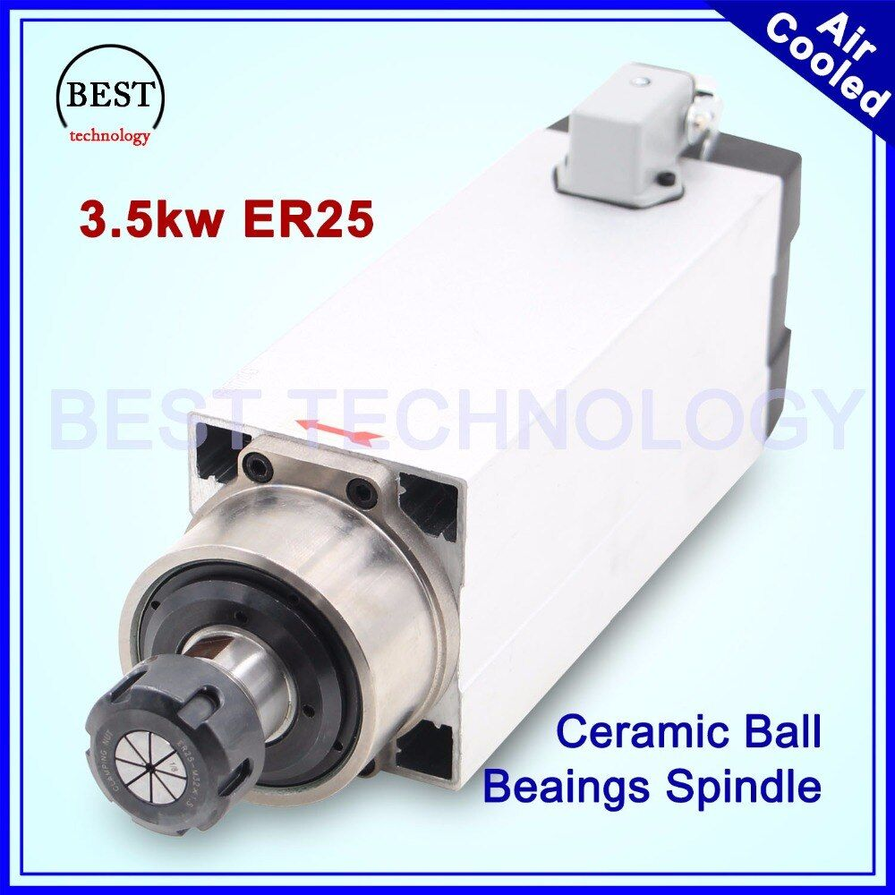 New Arrival! 3.5kw ER25 air cooled spindle motor Air cooling Ceramic ball bearings 0.01mm high accuracy 220v 380v 4 bearings