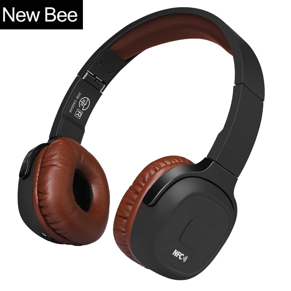 New Bee Upgraded Wireless Bluetooth Headphones Hifi Sport <font><b>Headset</b></font> with Case Pedometer App Mic NFC Earphone Stand for Phone PC