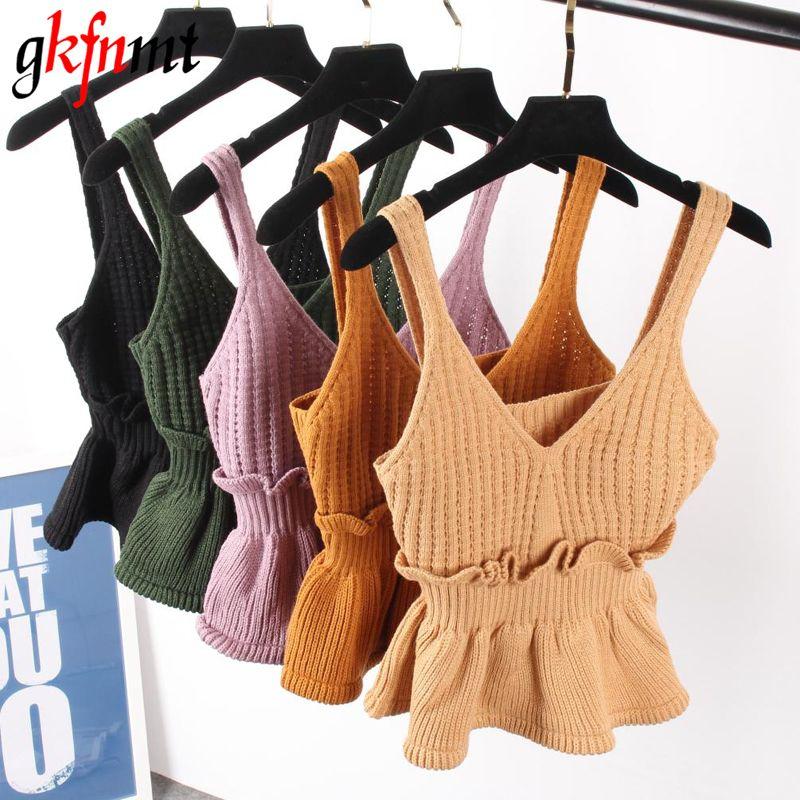 Sexy extensible tricot col en V Crop haut caraco automne Style 2018 Vogue plaine femmes Sexy Spaghetti sangle Camisole débardeur chemise