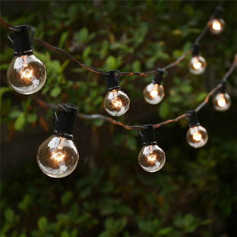 <font><b>String</b></font> Lights with 25 G40 Globe Bulbs UL listed for Indoor/Outdoor Commercial Outdoor Hanging Umbrella Garden Patio Lamp Lights