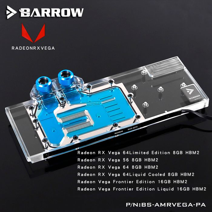 Barrow BS-AMRVEGA-PA LRC RGB v1/v2 Full Cover Graphics Card Water Cooling Block for Radeon RX VEGA Frontier Edition