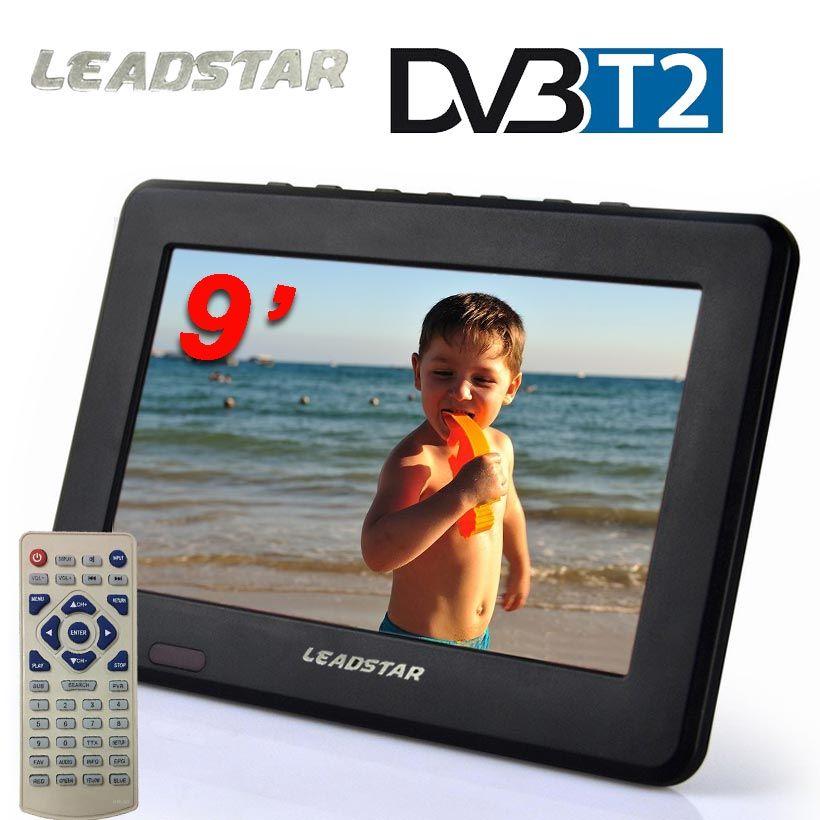 Les nouveaux Téléviseurs 9 pouce HD TV TFT LCD Couleur DVB-T2 Portable TV Avec Large Angle de Vue, Support SD/MMC Carte, USB Flash Disque