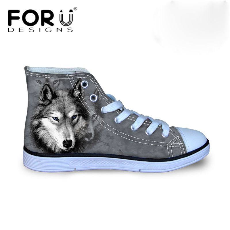 FORUDESIGNS Mode Hommes Vulcanisé Chaussures 3D Animaux Loup High Top Chaussures, Pet Chien Husky Imprimer Appartements Homme Toile Chaussures mâle Chaussures