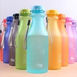 HIFUAR Candy Color Unbreakable Frosted Leak-proof Plastic Kettle 550mL BPA Free Portable Water Bottle Travel Yoga RunningCamping
