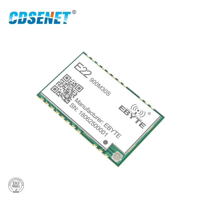 SX1262 1W Wireless Transceiver LoRa 915MHz E22-900M30S SMD Stamp Hole IPEX Antenna 850-930MHz rf Transmitter and Receiver