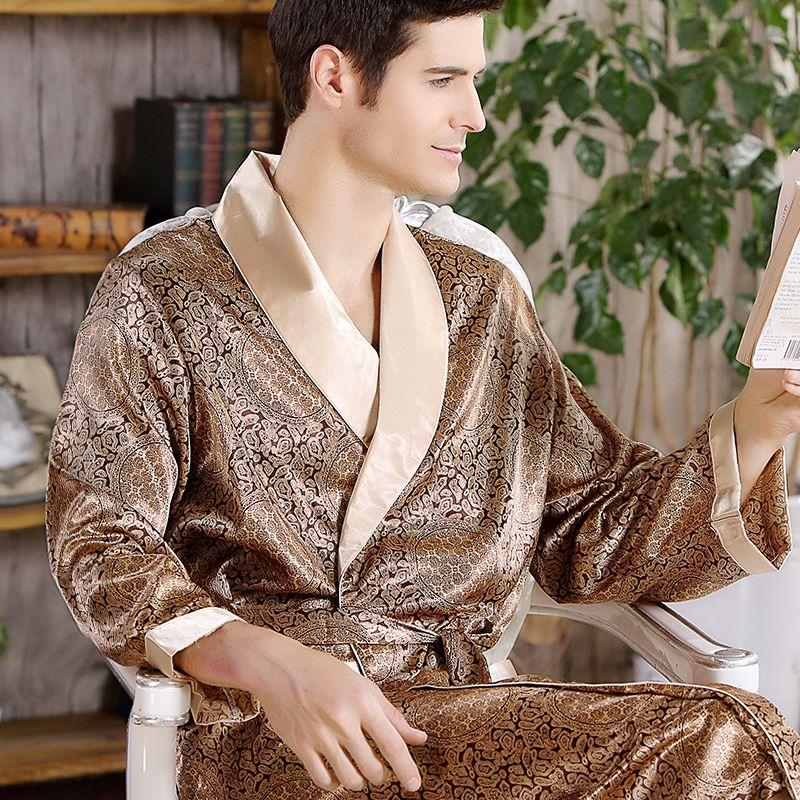 2019 Nouveau Printemps Automne De Luxe Peignoir Hommes Impression Plus La Taille Soie Satin Pyjamas Kimono D'été Mâle chemise de Nuit Robe De Soie Chinois