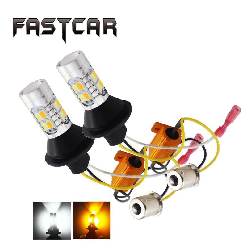 Super Lumineux 1 Set 1156 P21W BA15S 5730 20SMD Ambre/Blanc Switchback LED ampoules SMD 1073 S25 DRL Signal Lumineux de Tour 12 V Double Couleur